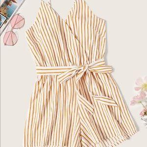 Striped Belted Cami Romper